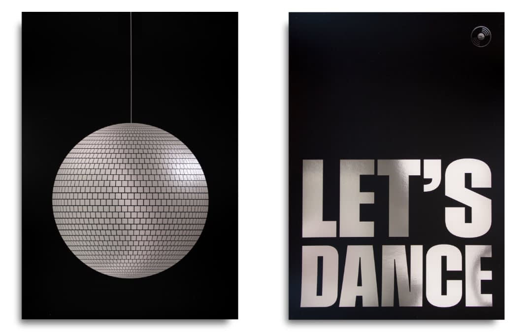 Disco ball poster next to poster with text
