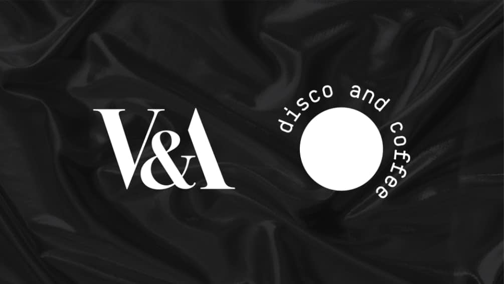 V&A Logo and Disco and Coffee logo side by side in white on black