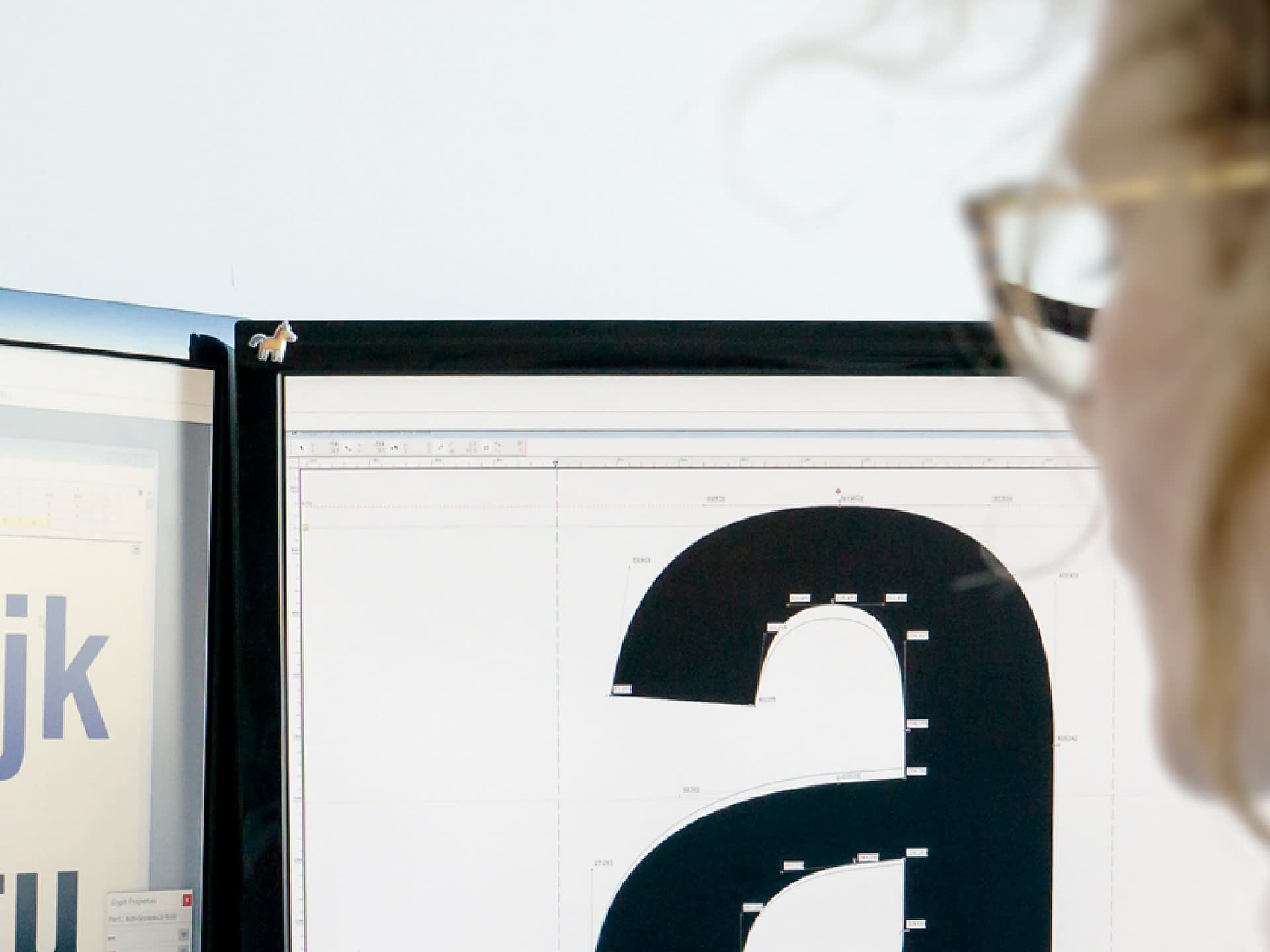Font being designed on computer